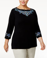 Karen Scott Plus Size Embroidered Top, Only at Macy's