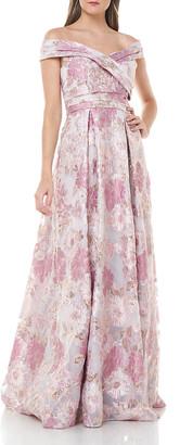 Carmen Marc Valvo Off-the-Shoulder Metallic Floral Organza Ball Gown