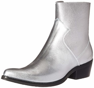 Calvin Klein Jeans Men's Alden Ankle Boot Silver Tumbled Leather 8 M US