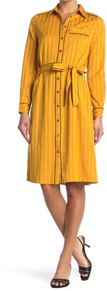 FRNCH Tonal Stripe Print Tie Waist Shirtdress