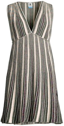 M Missoni Striped Glitter-Knit Sleeveless Dress