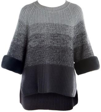 Fendi Fur Cuff Wool & Cashmere Ombre Crewneck Sweater