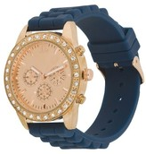 Xhilaration Women's Rose Gold Colored Case With Rhinestones Watch Navy