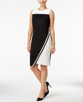 Tommy Hilfiger Colorblocked Asymmetrical Scuba Dress, Only at Macy's