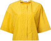 Jil Sander collarless cropped jacket - women - Cotton/Polyamide - 36