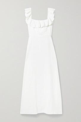 HONORINE Colette Ruffled Linen Maxi Dress - White