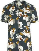 River Island Mens Navy floral print revere collar short sleeve