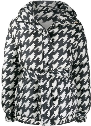 Perfect Moment Houndstooth Print Oversized Parka Coat