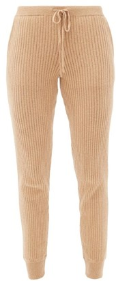 Skin Mazie Ribbed Cotton-blend Track Pants - Light Brown