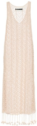 Jil Sander Crocheted cotton midi dress