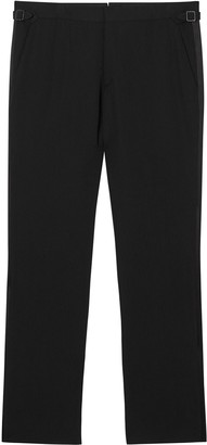 Burberry Classic Fit Silk Trim Wool Tailored Trousers