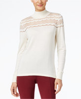 August Silk Mock-Neck Illusion-Chevron Sweater