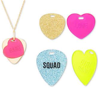 "Steve Madden Interchangeable Heart Tag Pendant Necklace Set, 16-1/2"" + 3"" extender"