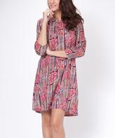 Salmon & Pink Geometric Three-Quarter Sleeve Shift Dress