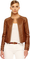 Michael Kors Chain-Trim Leather Jacket