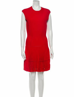 Alexander McQueen Crew Neck Knee-Length Dress Red