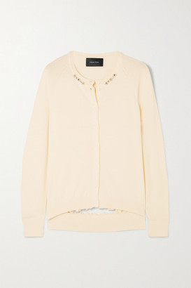 Simone Rocha Bite Back Embellished Ruffled Cutout Wool And Silk-blend Cardigan - Cream