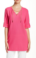 Joan Vass Chainlink Lace-Up Tunic (Petite)