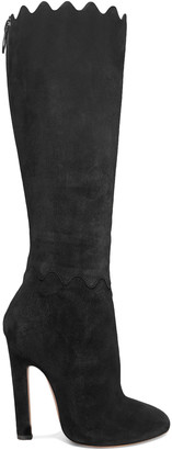 Alaia Scalloped Suede Knee Boots
