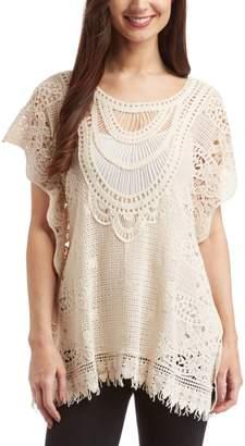 Simply Irresistible Women's Blouses Natural - Natural Crochet Fringe-Trim Sidetail Top - Women