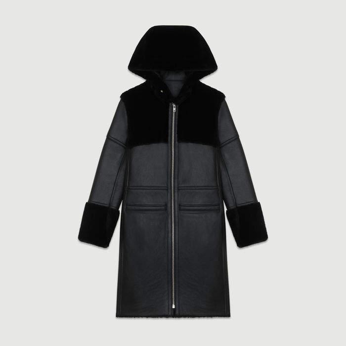 Maje Long shearling coat with mixed material