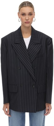 we11done We11 Done Striped Double Breasted Blazer