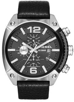 Diesel DZ4342 Overflow Stainless Steel and Leather Strap Watch
