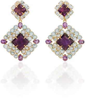 Bounkit Blue Quartz and Diamond Square Earrings