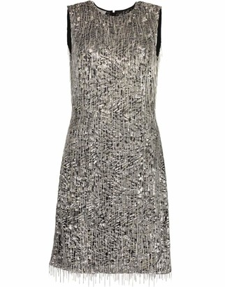 Michael Kors Collection Embroidered Fringe Sheath Dress