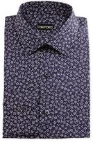 Tom Ford Classic Fit Mini-Floral Pattern Shirt, Navy