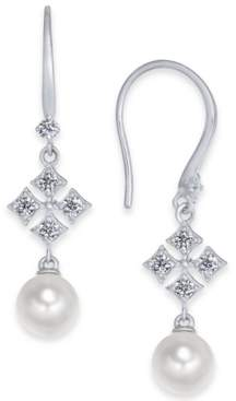 Eliot Danori Silver-Tone Imitation Pearl & Cubic Zirconia Drop Earrings, Created For Macy's