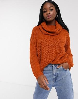 Brave Soul cowl neck fisherman knit sweater in rust-Orange