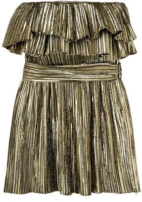 Saint Laurent Metallic Ruffle Cocktail Dress