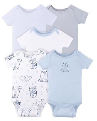 Little Star Organic Baby Boy Newborn Essentials Bodysuits, 5-Pack