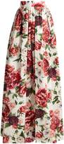 Dolce & Gabbana Peony and rose-print cotton-poplin skirt