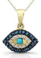 Victoria Kay 14k White Gold Treated Blue and White Diamond Turquoise Evil Eye Pendant (1/8cttw, JK, I2-I3)