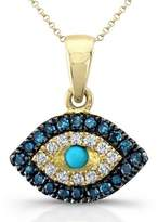 Victoria Kay 14k Yellow Gold Treated Blue and White Diamond Turquoise Evil Eye Pendant (1/8cttw, JK, I2-I3)