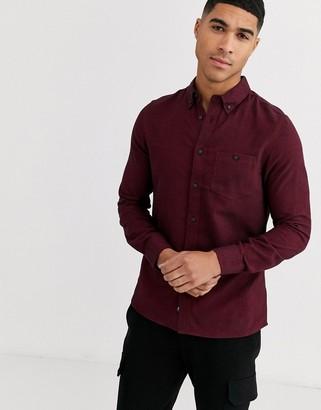 Burton Menswear shirt in burgundy herringbone-Red