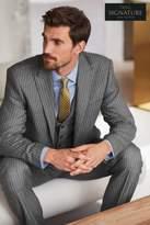 Mens Next Light Grey British Wool Striped Regular Fit Suit: Trousers - Grey