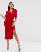 Club L London slinky twist front maxi dress