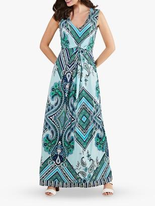 Yumi Paisley Scarf Print Maxi Dress, Blue