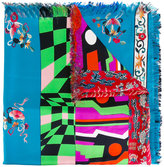 Pierre Louis Mascia Pierre-Louis Mascia stripe and floral fringed scarf
