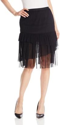 BCBGeneration Women's Asym Tutu Slip Skirt Black Large