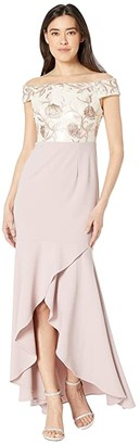 Adrianna Papell Petite Off the Shoulder Embroidered Bodice Evening Gown (Quartz) Women's Dress