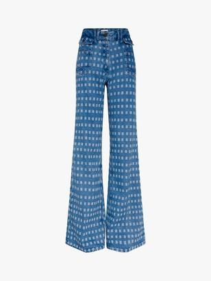Gerard Darel Anna Flared Geometric Print Jeans, Blue