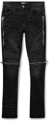 Amiri Mx2 Skinny-Fit Leather-Panelled Distressed Stretch-Denim Jeans