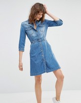 7 For All Mankind Button Front Denim Shirt Dress