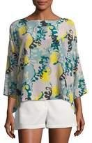 M Missoni Seaweed-Print Silk Top