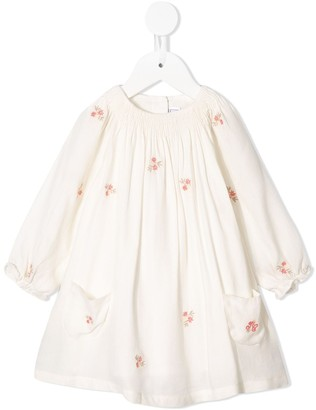 Tartine et Chocolat Floral Embroidered Smock Dress