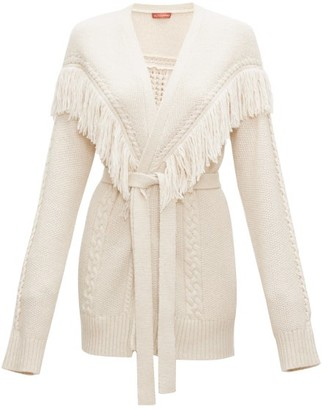 Altuzarra Trailblazer Fringed Cable-knit Cardigan - Ivory